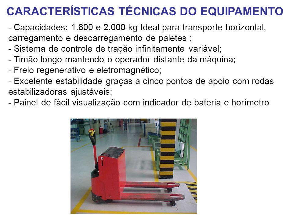 - Capacidades: 1.800 e 2.000 kg Ideal para transporte horizontal, carregamento e descarregamento de paletes ; - Sistema de controle de tração infinita