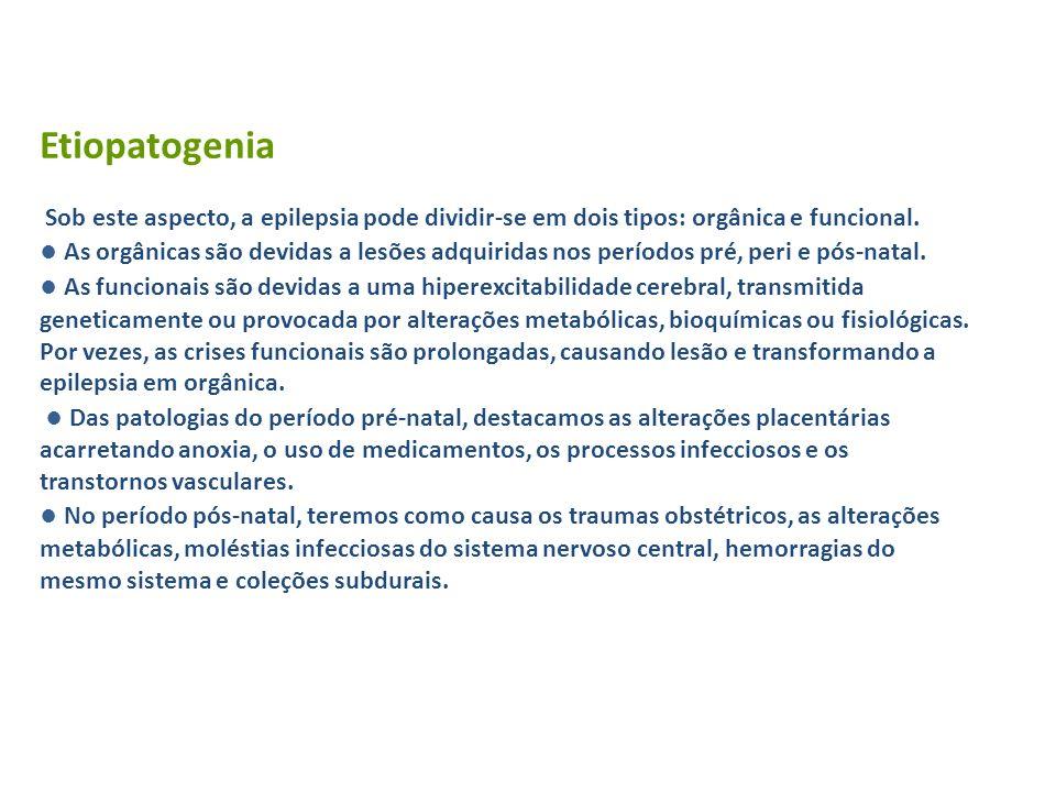 Etiopatogenia Sob este aspecto, a epilepsia pode dividir-se em dois tipos: orgânica e funcional. As orgânicas são devidas a lesões adquiridas nos perí