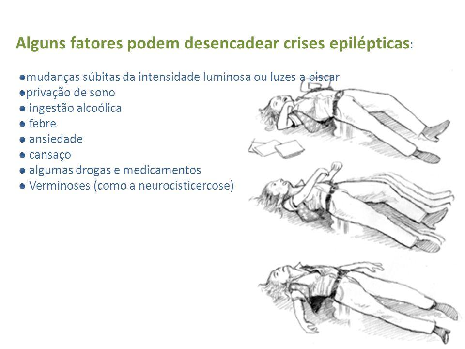 Alguns fatores podem desencadear crises epilépticas : mudanças súbitas da intensidade luminosa ou luzes a piscar privação de sono ingestão alcoólica f