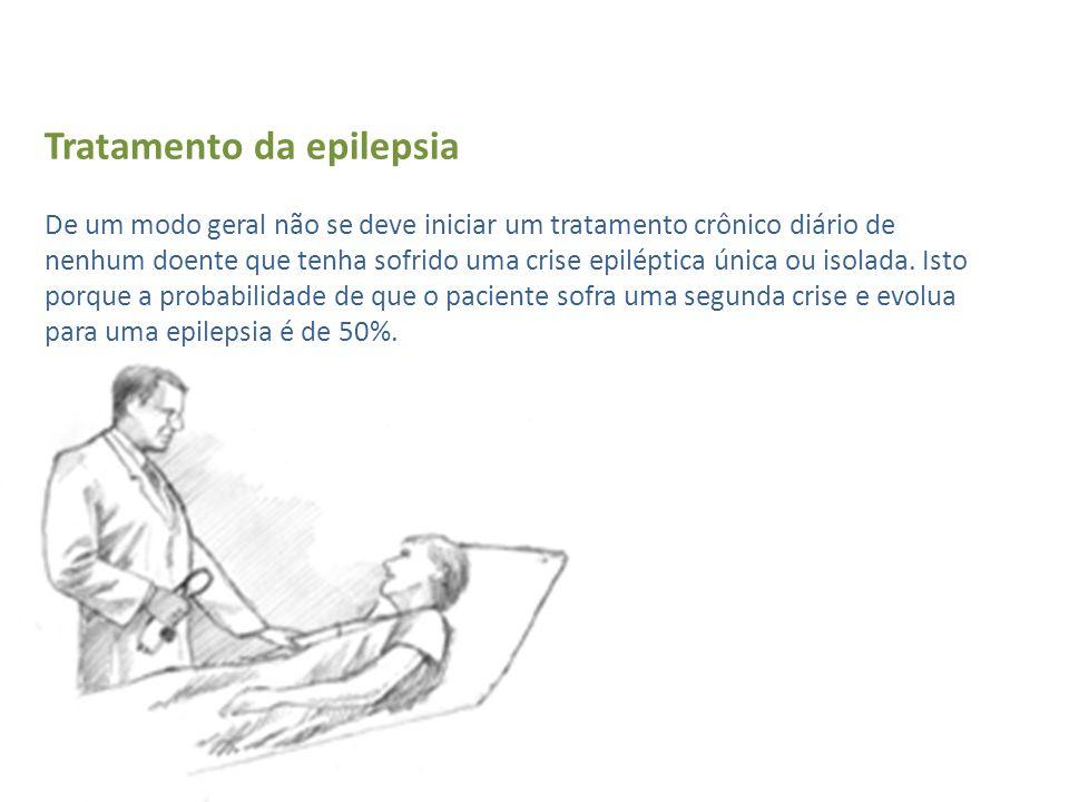 Tratamento da epilepsia De um modo geral não se deve iniciar um tratamento crônico diário de nenhum doente que tenha sofrido uma crise epiléptica únic