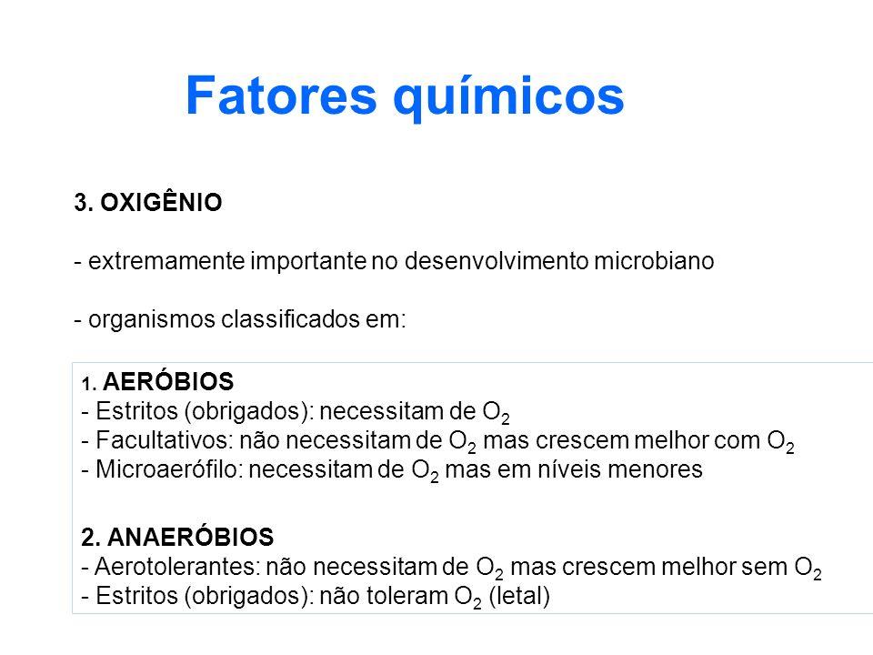 3. OXIGÊNIO - extremamente importante no desenvolvimento microbiano - organismos classificados em: Fatores químicos 1. AERÓBIOS - Estritos (obrigados)