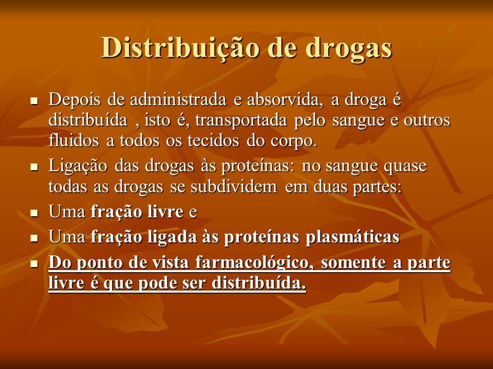 Distribuição de drogas Depois de administrada e absorvida, a droga é distribuída, isto é, transportada pelo sangue e outros fluidos a todos os tecidos