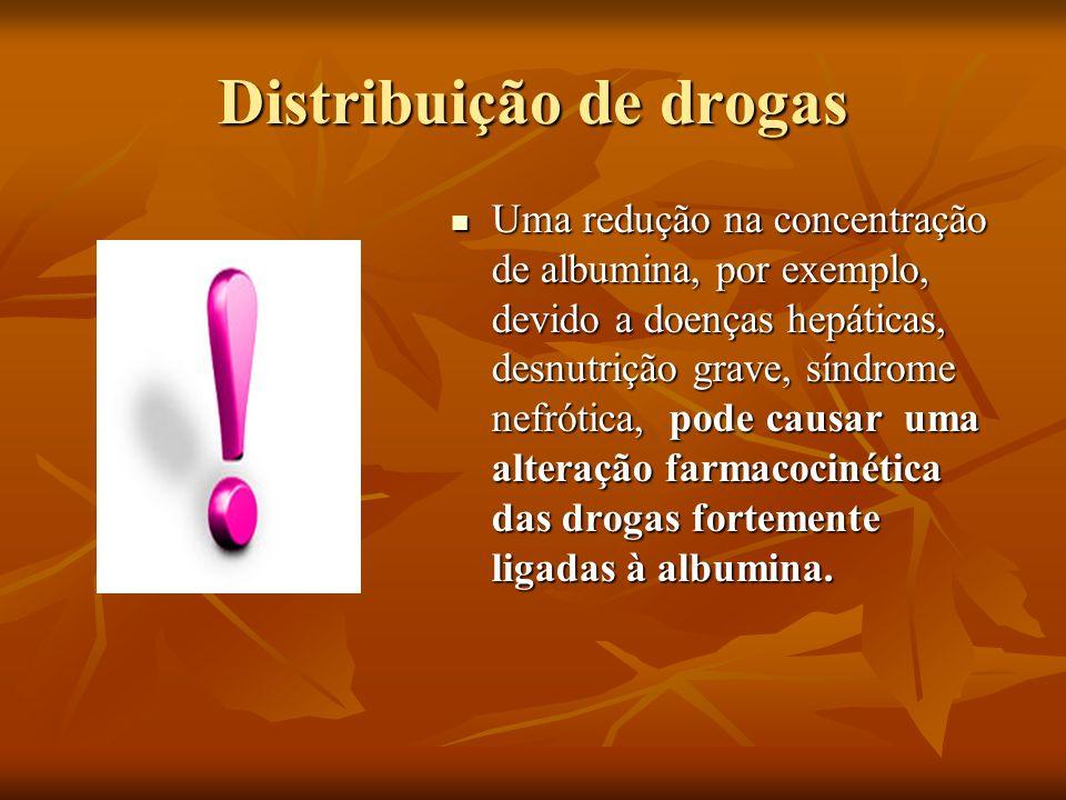 Distribuição de drogas Uma redução na concentração de albumina, por exemplo, devido a doenças hepáticas, desnutrição grave, síndrome nefrótica, pode c