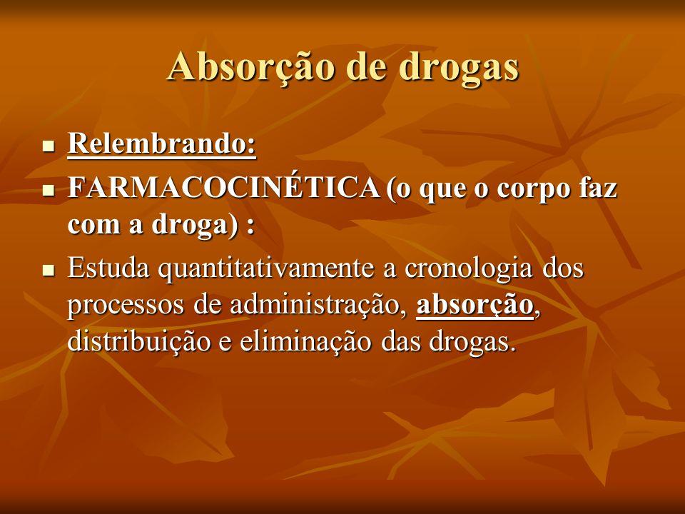 Absorção de drogas Relembrando: Relembrando: FARMACOCINÉTICA (o que o corpo faz com a droga) : FARMACOCINÉTICA (o que o corpo faz com a droga) : Estud