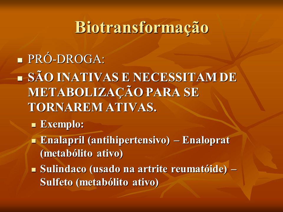 Biotransformação PRÓ-DROGA: PRÓ-DROGA: SÃO INATIVAS E NECESSITAM DE METABOLIZAÇÃO PARA SE TORNAREM ATIVAS. SÃO INATIVAS E NECESSITAM DE METABOLIZAÇÃO