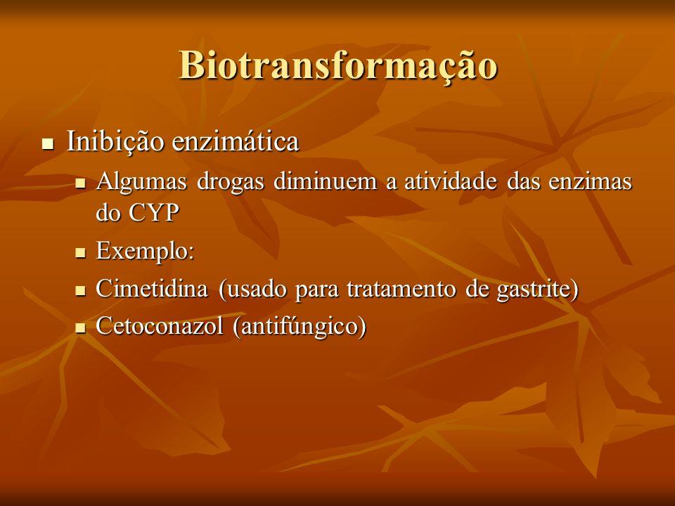 Biotransformação Inibição enzimática Inibição enzimática Algumas drogas diminuem a atividade das enzimas do CYP Algumas drogas diminuem a atividade da