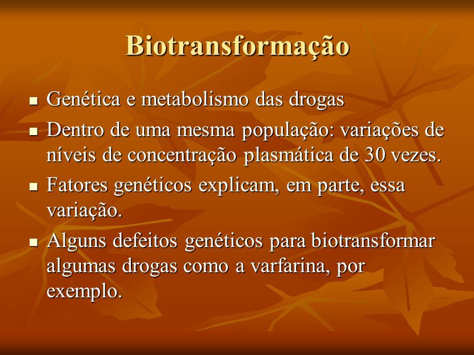 Biotransformação Genética e metabolismo das drogas Genética e metabolismo das drogas Dentro de uma mesma população: variações de níveis de concentraçã