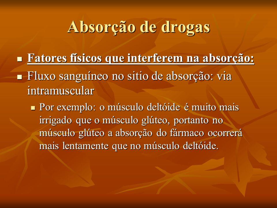 Absorção de drogas Fatores físicos que interferem na absorção: Fatores físicos que interferem na absorção: Fluxo sanguíneo no sitio de absorção: via i