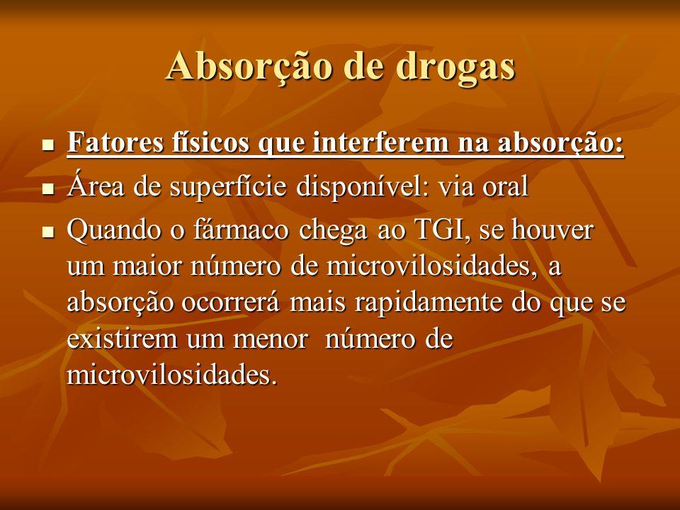 Absorção de drogas Fatores físicos que interferem na absorção: Fatores físicos que interferem na absorção: Área de superfície disponível: via oral Áre