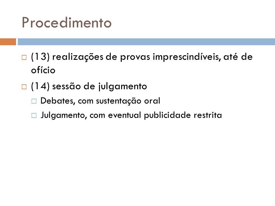 Procedimento (13) realizações de provas imprescindíveis, até de ofício (14) sessão de julgamento Debates, com sustentação oral Julgamento, com eventua