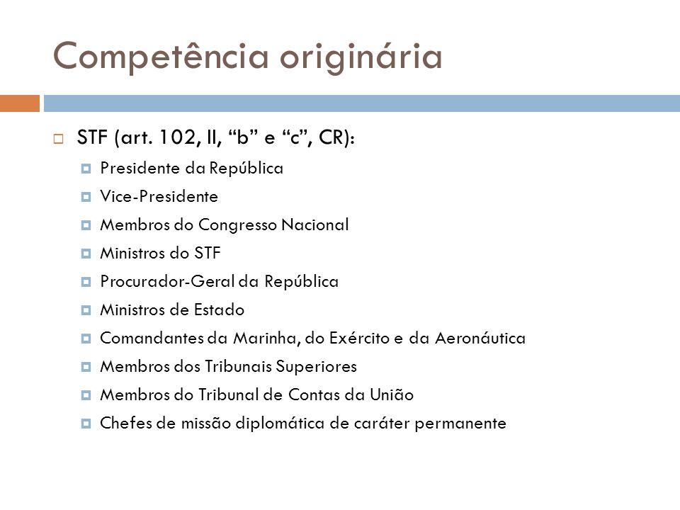 Competência originária STF (art. 102, II, b e c, CR): Presidente da República Vice-Presidente Membros do Congresso Nacional Ministros do STF Procurado