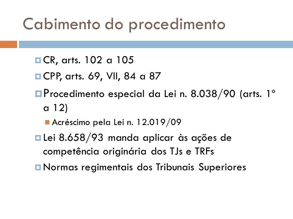 Cabimento do procedimento CR, arts. 102 a 105 CPP, arts. 69, VII, 84 a 87 P rocedimento especial da Lei n. 8.038/90 (arts. 1º a 12) Acréscimo pela Lei