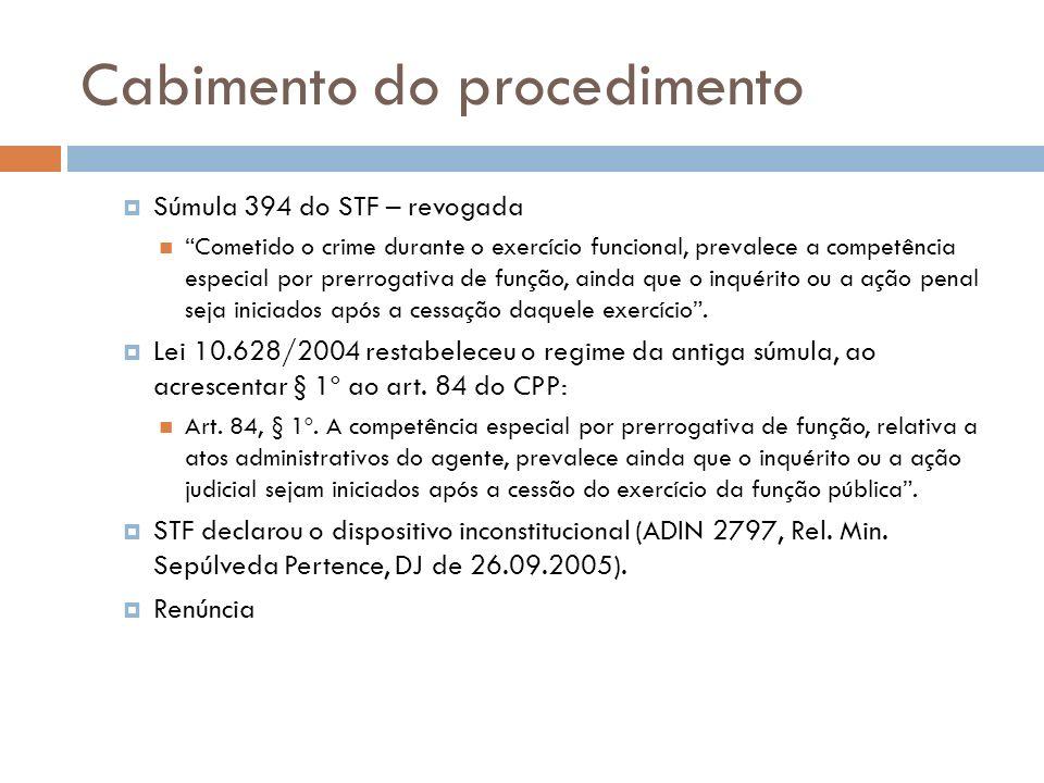 Cabimento do procedimento Súmula 394 do STF – revogada Cometido o crime durante o exercício funcional, prevalece a competência especial por prerrogati