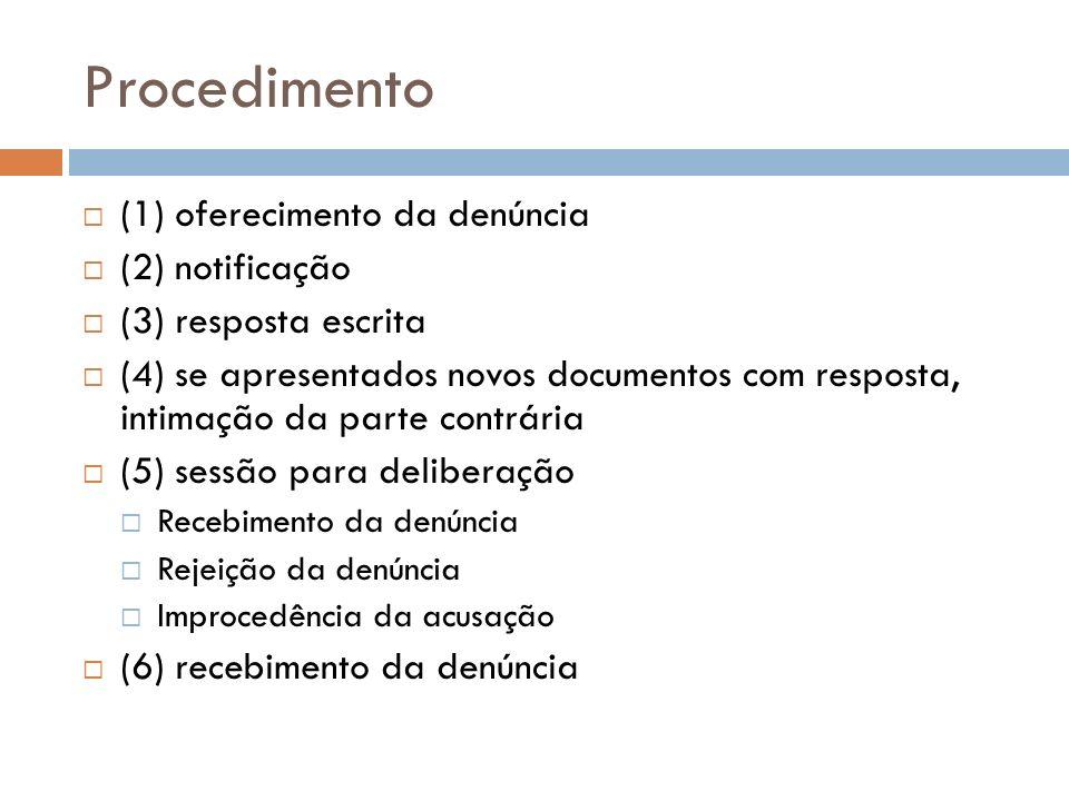 Procedimento (1) oferecimento da denúncia (2) notificação (3) resposta escrita (4) se apresentados novos documentos com resposta, intimação da parte c