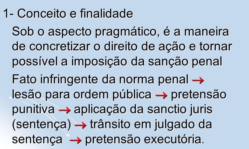 1- Conceito e finalidade Sob o aspecto pragmático, é a maneira de concretizar o direito de ação e tornar possível a imposição da sanção penal Fato inf