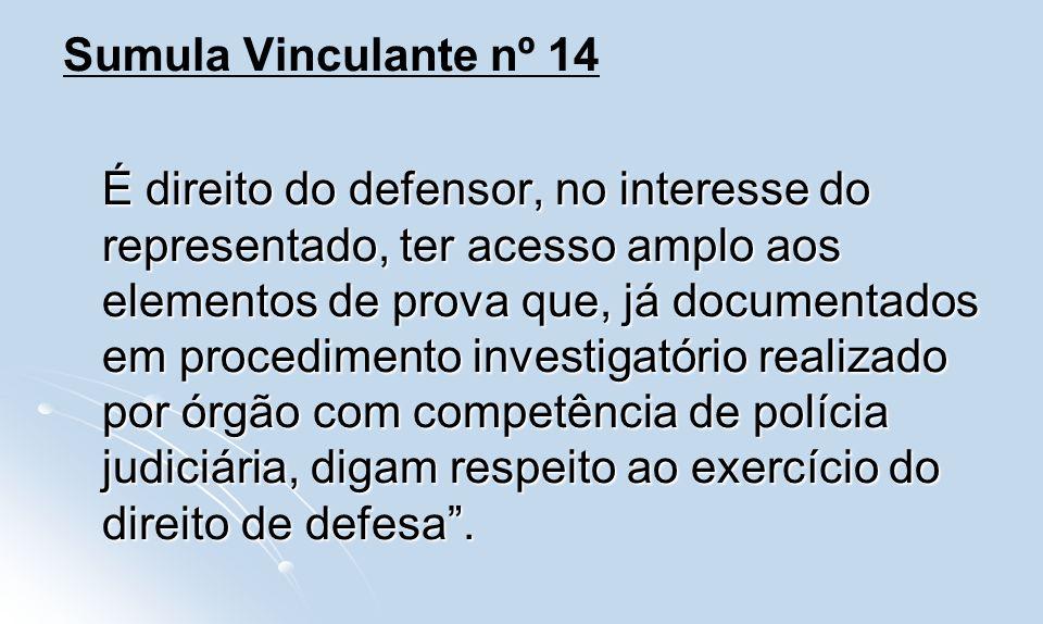 Sumula Vinculante nº 14 É direito do defensor, no interesse do representado, ter acesso amplo aos elementos de prova que, já documentados em procedime