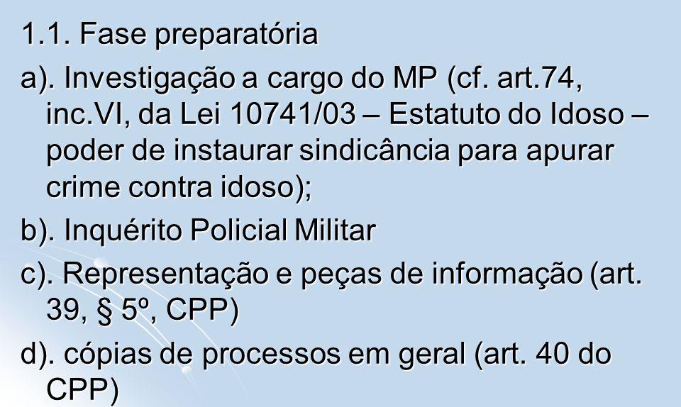 1.1. Fase preparatória a). Investigação a cargo do MP (cf. art.74, inc.VI, da Lei 10741/03 – Estatuto do Idoso – poder de instaurar sindicância para a
