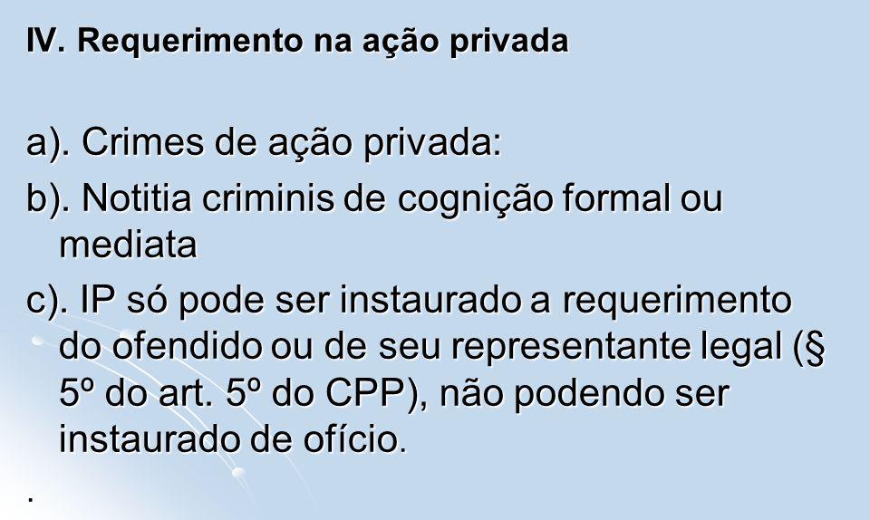 IV. Requerimento na ação privada a). Crimes de ação privada: b). Notitia criminis de cognição formal ou mediata c). IP só pode ser instaurado a requer