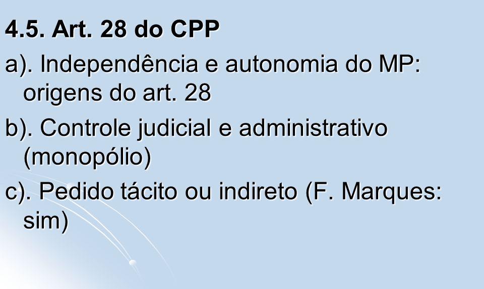 4.5. Art. 28 do CPP a). Independência e autonomia do MP: origens do art. 28 b). Controle judicial e administrativo (monopólio) c). Pedido tácito ou in