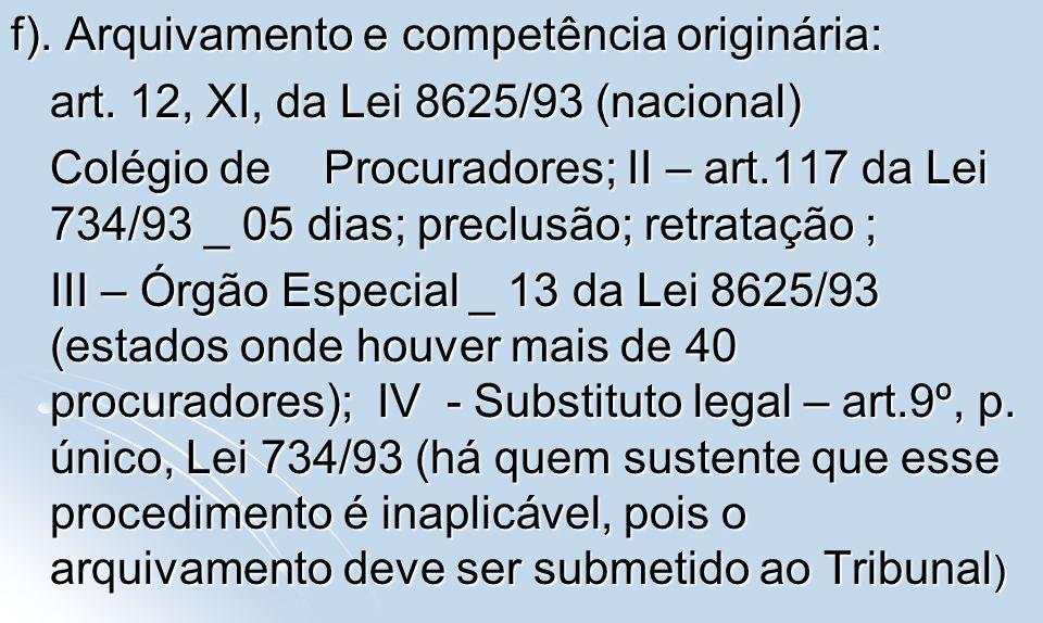 f). Arquivamento e competência originária: art. 12, XI, da Lei 8625/93 (nacional) art. 12, XI, da Lei 8625/93 (nacional) Colégio de Procuradores; II –