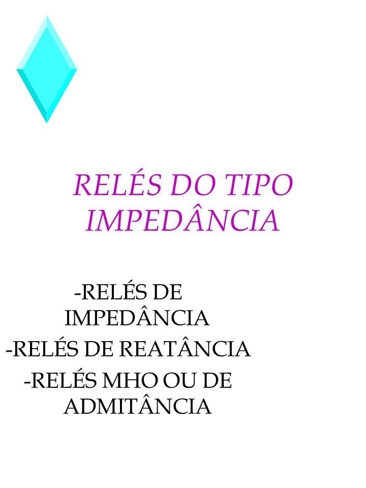 RELÉS DO TIPO IMPEDÂNCIA -RELÉS DE IMPEDÂNCIA -RELÉS DE REATÂNCIA -RELÉS MHO OU DE ADMITÂNCIA