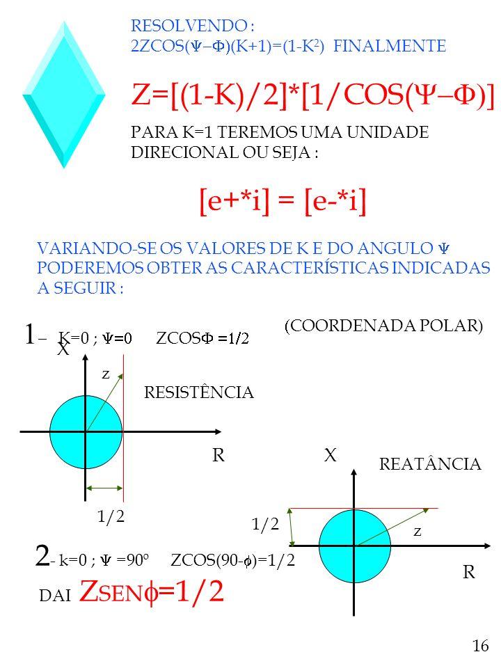 RESOLVENDO : 2ZCOS( (K+1)=(1-K 2 ) FINALMENTE Z=[(1-K)/2]*[1/COS( PARA K=1 TEREMOS UMA UNIDADE DIRECIONAL OU SEJA : [e+*i] = [e-*i] VARIANDO-SE OS VAL