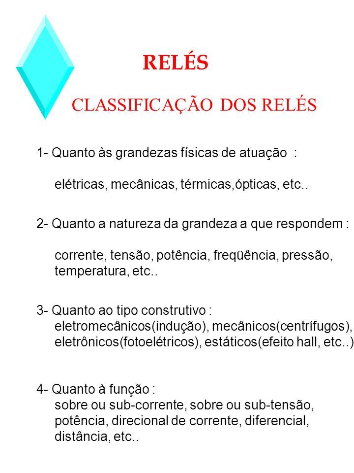 CLASSIFICAÇÃO DOS RELÉS RELÉS 1- Quanto às grandezas físicas de atuação : elétricas, mecânicas, térmicas,ópticas, etc.. 2- Quanto a natureza da grande