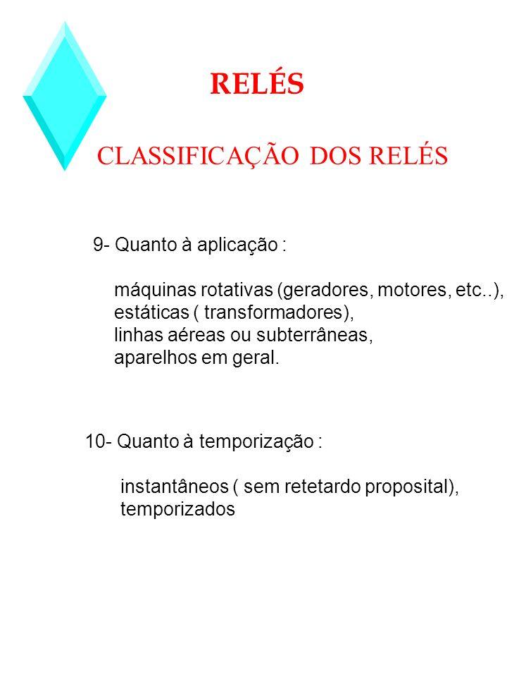 CLASSIFICAÇÃO DOS RELÉS RELÉS 9- Quanto à aplicação : máquinas rotativas (geradores, motores, etc..), estáticas ( transformadores), linhas aéreas ou s