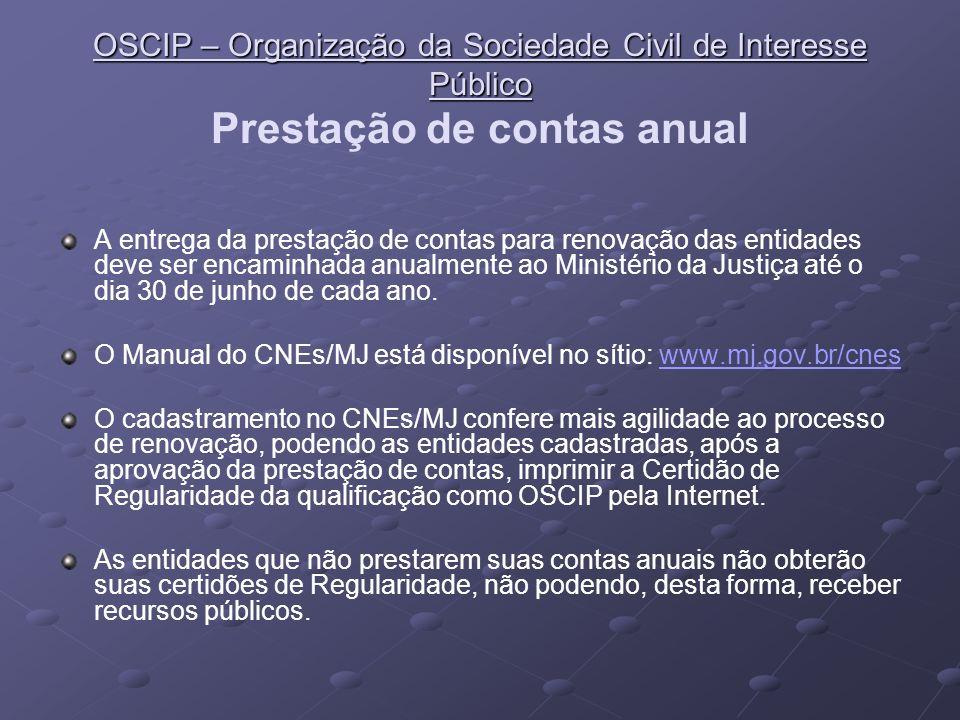 OSCIP – Organização da Sociedade Civil de Interesse Público OSCIP – Organização da Sociedade Civil de Interesse Público Termos de Parceria Decreto nº 3.100/99 O art.