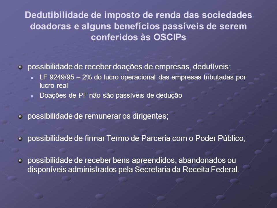 Dedutibilidade de imposto de renda das sociedades doadoras e alguns benefícios passíveis de serem conferidos às OSCIPs possibilidade de receber doaçõe