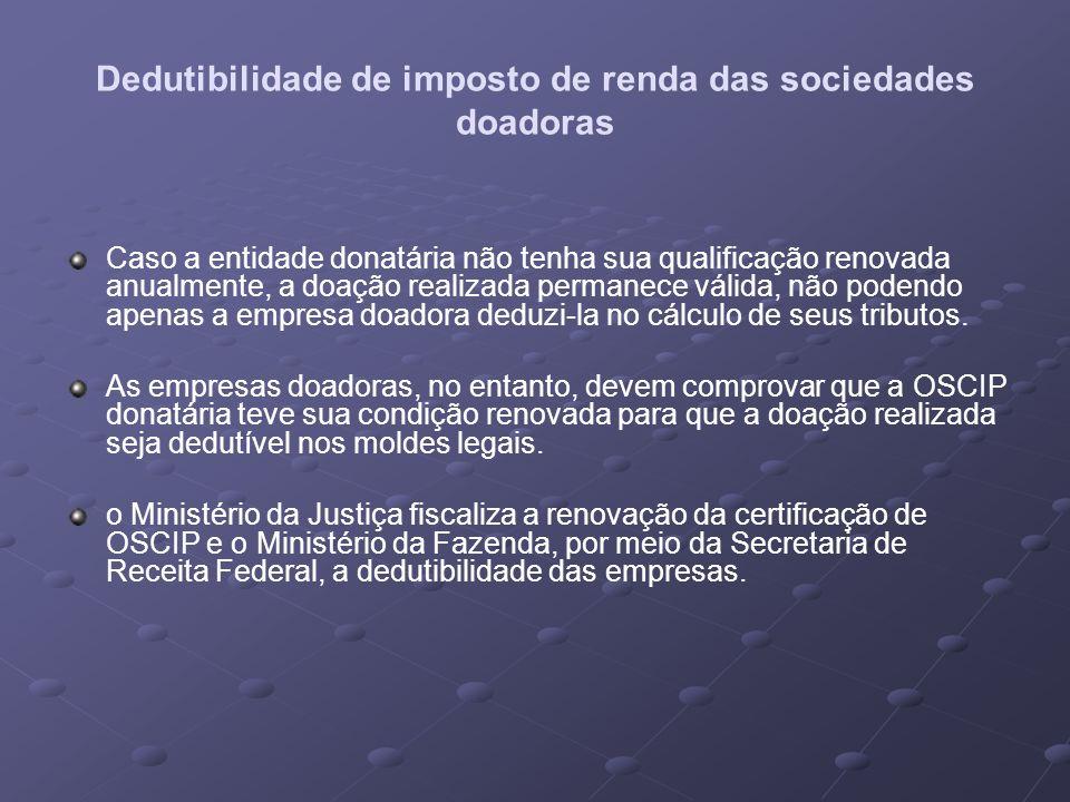 Dedutibilidade de imposto de renda das sociedades doadoras Caso a entidade donatária não tenha sua qualificação renovada anualmente, a doação realizad