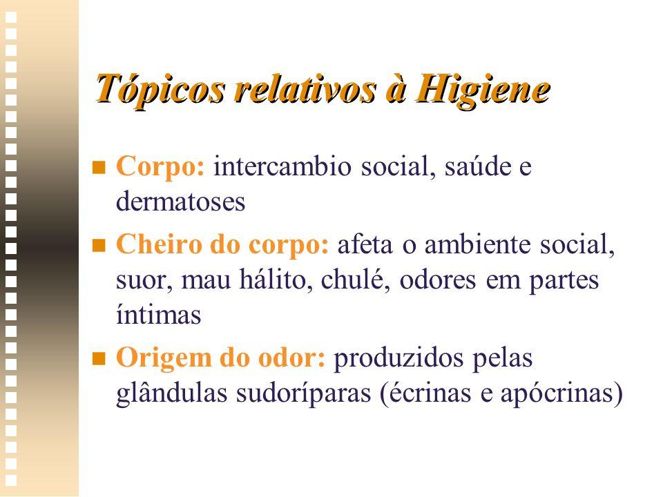 Tópicos relativos à Higiene n n Corpo: intercambio social, saúde e dermatoses n n Cheiro do corpo: afeta o ambiente social, suor, mau hálito, chulé, o