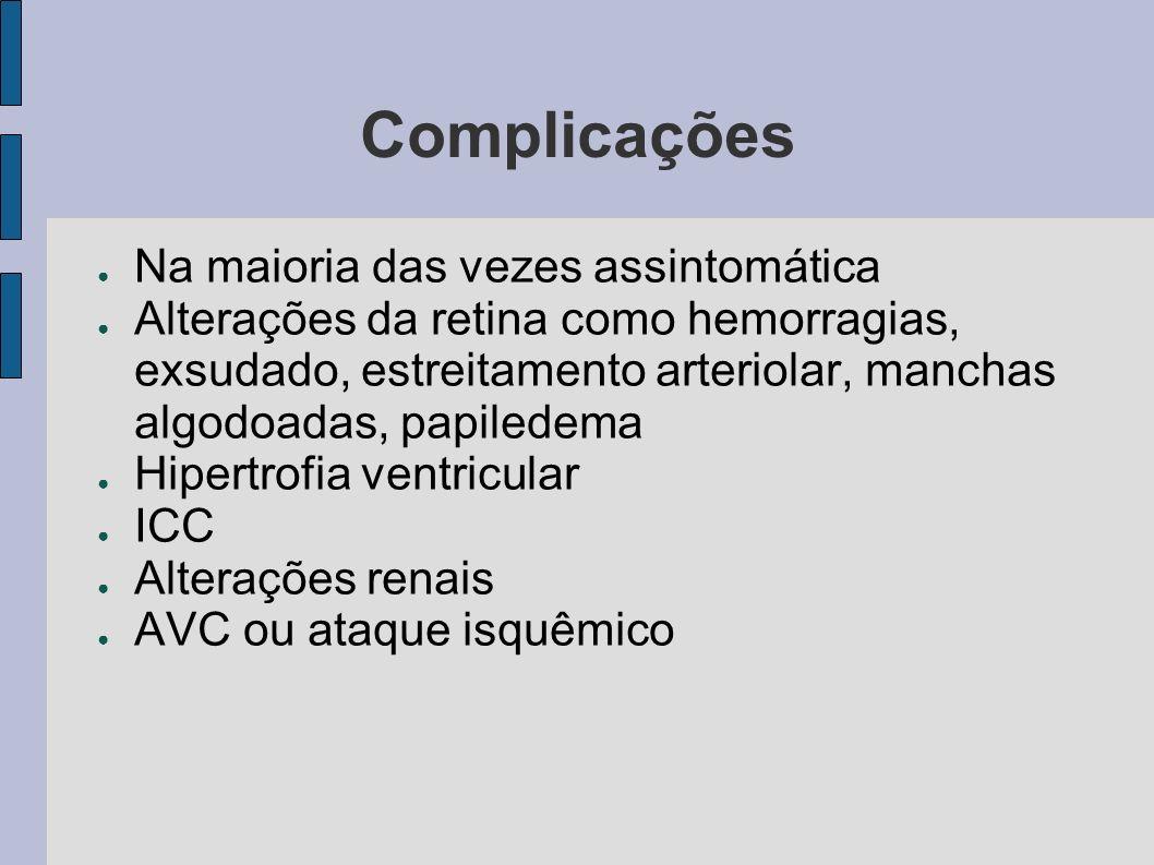Complicações Na maioria das vezes assintomática Alterações da retina como hemorragias, exsudado, estreitamento arteriolar, manchas algodoadas, papiled