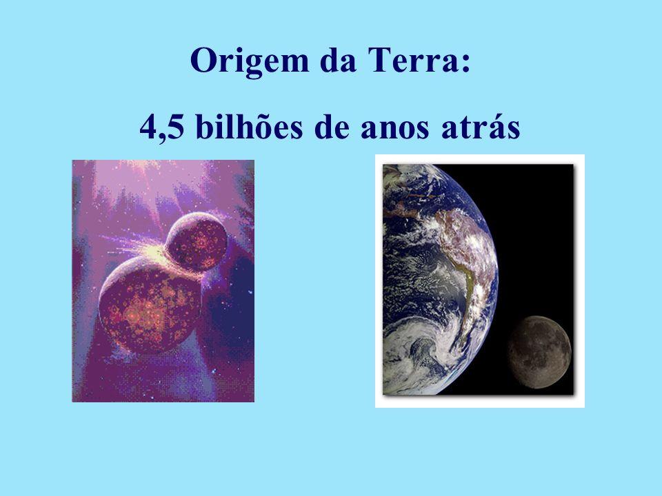 4,5 bilhões de anos atrás Origem da Terra: