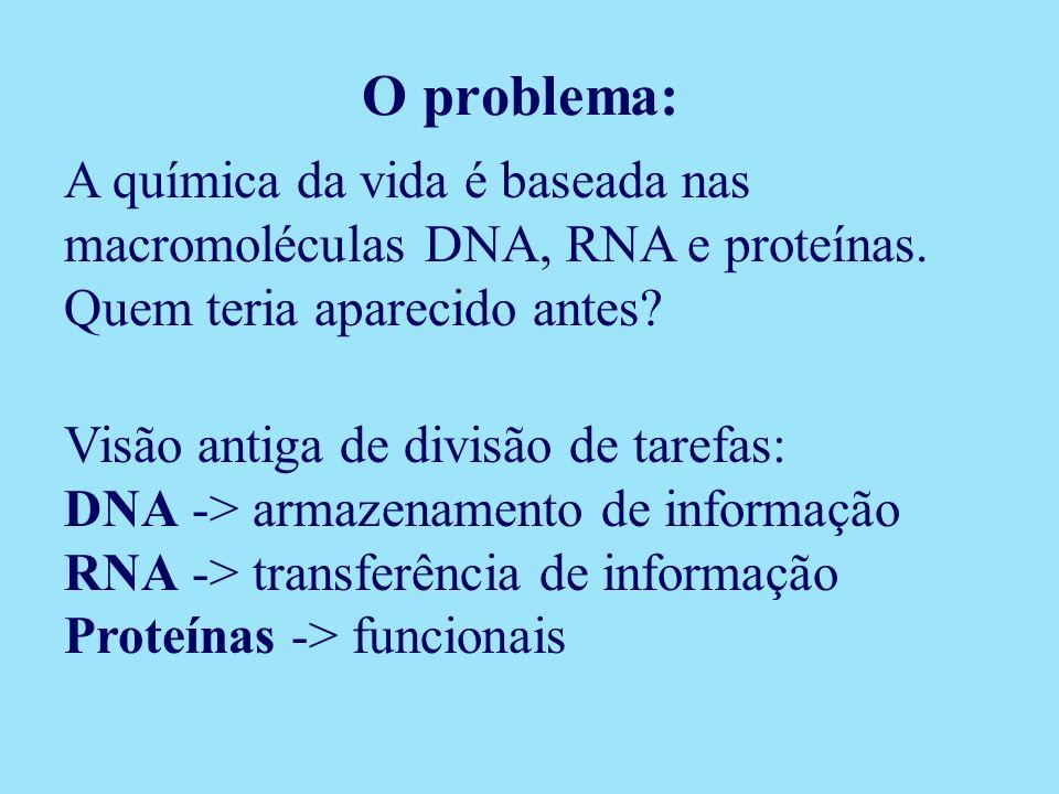 A química da vida é baseada nas macromoléculas DNA, RNA e proteínas. Quem teria aparecido antes? Visão antiga de divisão de tarefas: DNA -> armazename