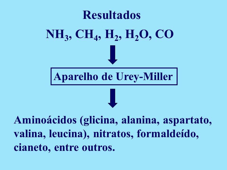 Aparelho de Urey-Miller NH 3, CH 4, H 2, H 2 O, CO Aminoácidos (glicina, alanina, aspartato, valina, leucina), nitratos, formaldeído, cianeto, entre o