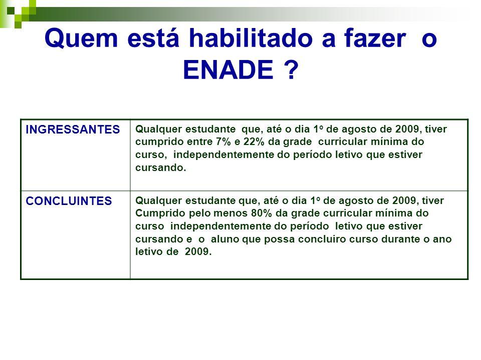 Quem está habilitado a fazer o ENADE ? INGRESSANTES Qualquer estudante que, até o dia 1 o de agosto de 2009, tiver cumprido entre 7% e 22% da grade cu