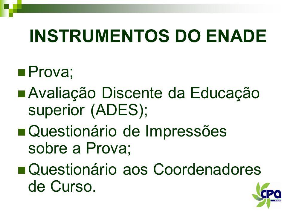 INSTRUMENTOS DO ENADE Prova; Avaliação Discente da Educação superior (ADES); Questionário de Impressões sobre a Prova; Questionário aos Coordenadores