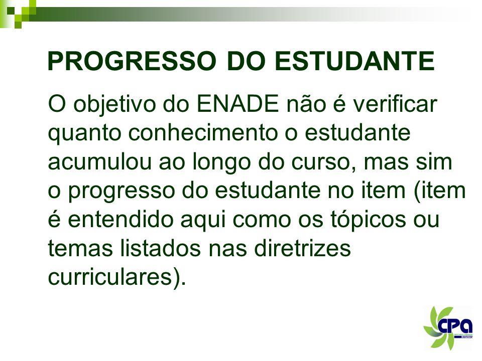 PROGRESSO DO ESTUDANTE O objetivo do ENADE não é verificar quanto conhecimento o estudante acumulou ao longo do curso, mas sim o progresso do estudant