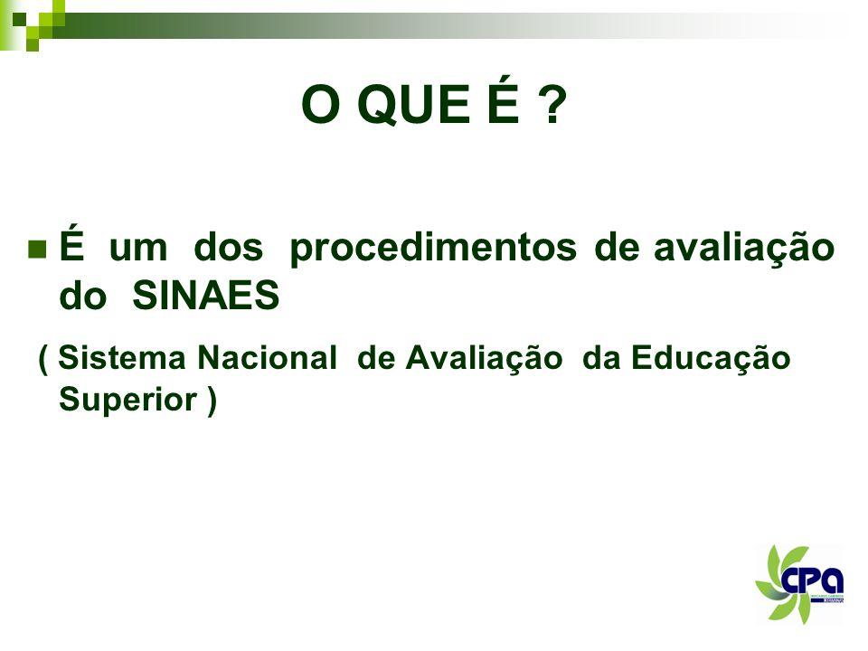 O QUE É ? É um dos procedimentos de avaliação do SINAES ( Sistema Nacional de Avaliação da Educação Superior )
