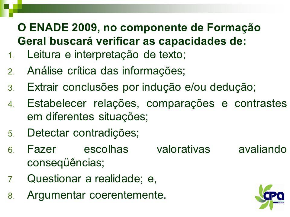O ENADE 2009, no componente de Formação Geral buscará verificar as capacidades de: 1. Leitura e interpretação de texto; 2. Análise crítica das informa