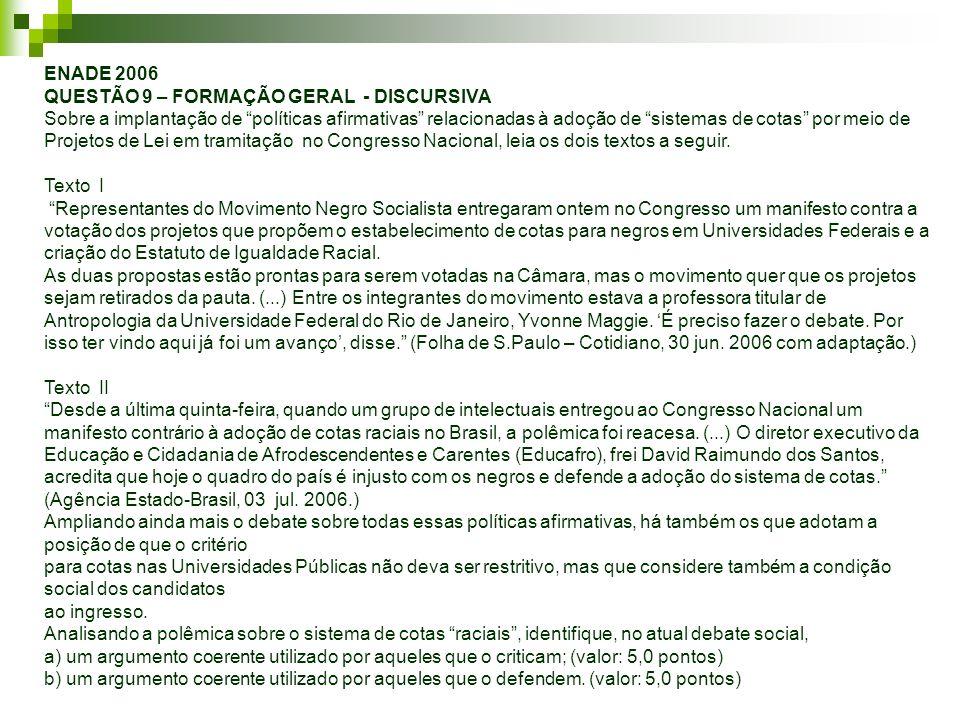 ENADE 2006 QUESTÃO 9 – FORMAÇÃO GERAL - DISCURSIVA Sobre a implantação de políticas afirmativas relacionadas à adoção de sistemas de cotas por meio de