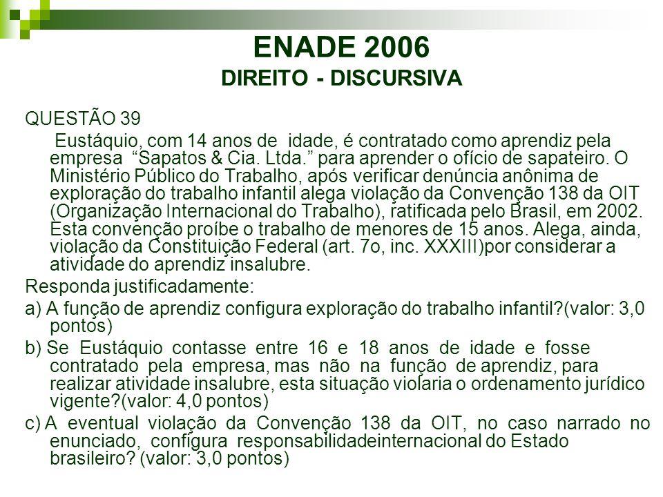 ENADE 2006 DIREITO - DISCURSIVA QUESTÃO 39 Eustáquio, com 14 anos de idade, é contratado como aprendiz pela empresa Sapatos & Cia. Ltda. para aprender