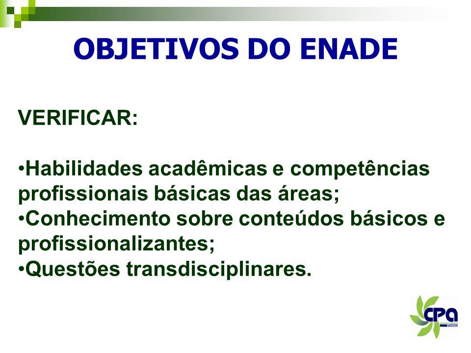 OBJETIVOS DO ENADE VERIFICAR: Habilidades acadêmicas e competências profissionais básicas das áreas; Conhecimento sobre conteúdos básicos e profission
