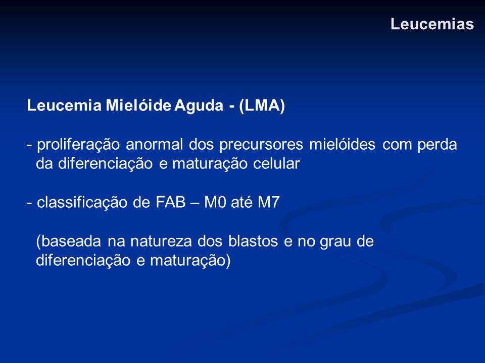 Leucemia Mielóide Aguda - (LMA) - proliferação anormal dos precursores mielóides com perda da diferenciação e maturação celular - classificação de FAB