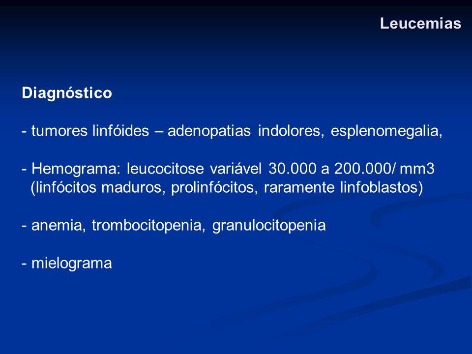 Diagnóstico - tumores linfóides – adenopatias indolores, esplenomegalia, - Hemograma: leucocitose variável 30.000 a 200.000/ mm3 (linfócitos maduros,