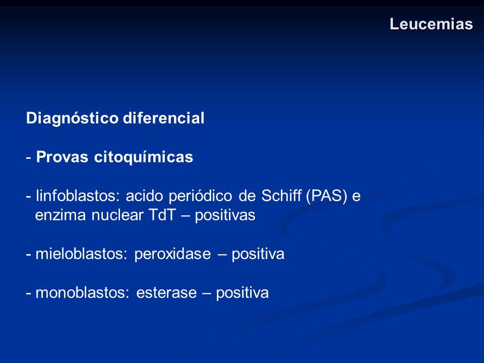 Diagnóstico diferencial - Provas citoquímicas - linfoblastos: acido periódico de Schiff (PAS) e enzima nuclear TdT – positivas - mieloblastos: peroxid