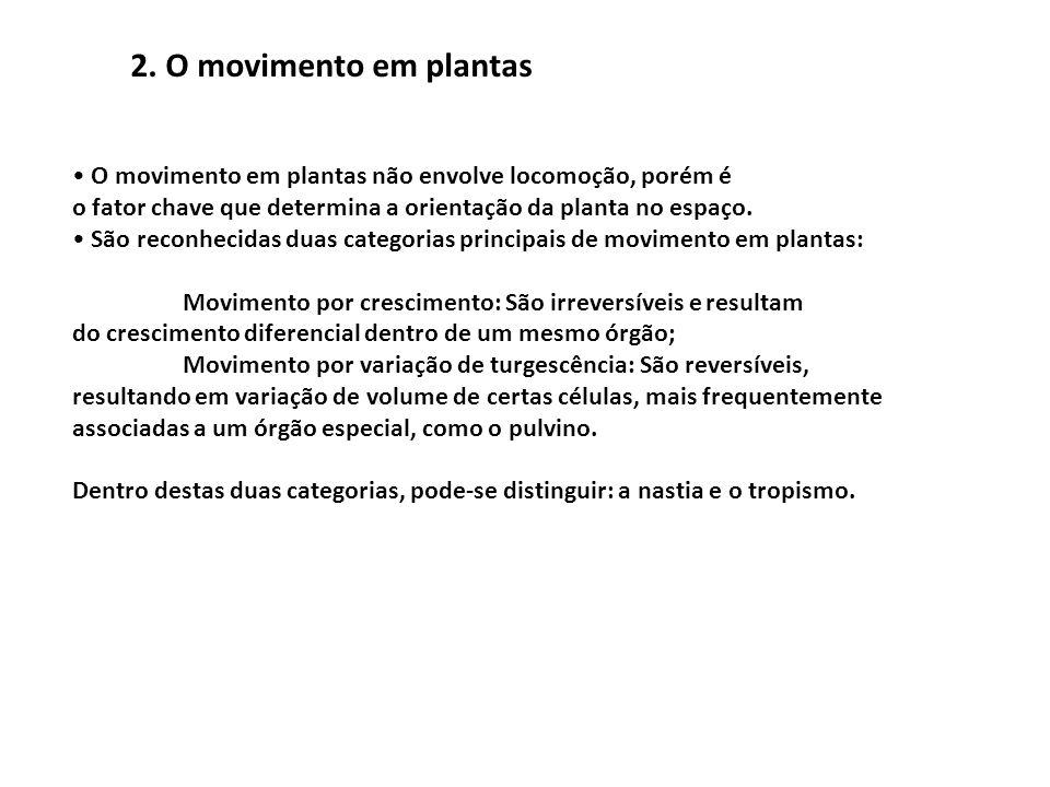O movimento em plantas não envolve locomoção, porém é o fator chave que determina a orientação da planta no espaço. São reconhecidas duas categorias p