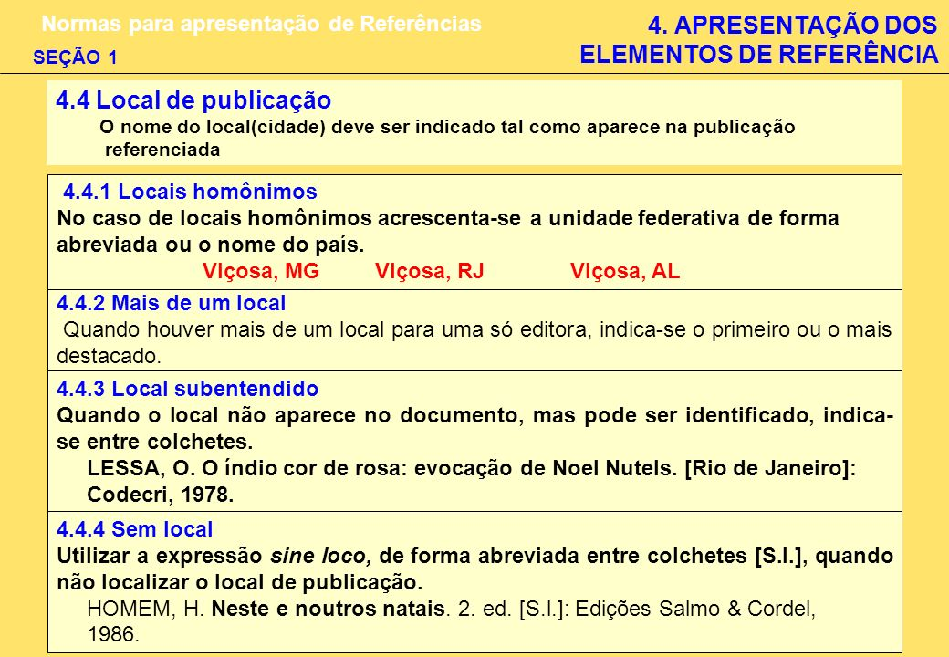 4. APRESENTAÇÃO DOS ELEMENTOS DE REFERÊNCIA Normas para apresentação de Referências SEÇÃO 1 4.4 Local de publicação O nome do local(cidade) deve ser i