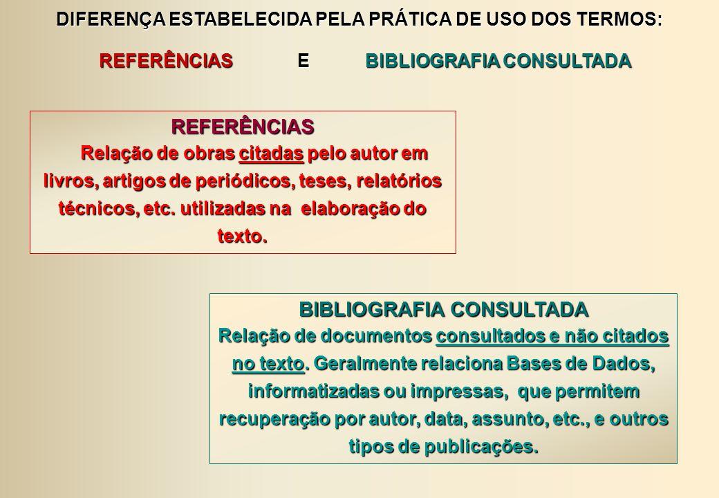 DIFERENÇA ESTABELECIDA PELA PRÁTICA DE USO DOS TERMOS: REFERÊNCIAS E BIBLIOGRAFIA CONSULTADA REFERÊNCIAS E BIBLIOGRAFIA CONSULTADAREFERÊNCIAS Relação